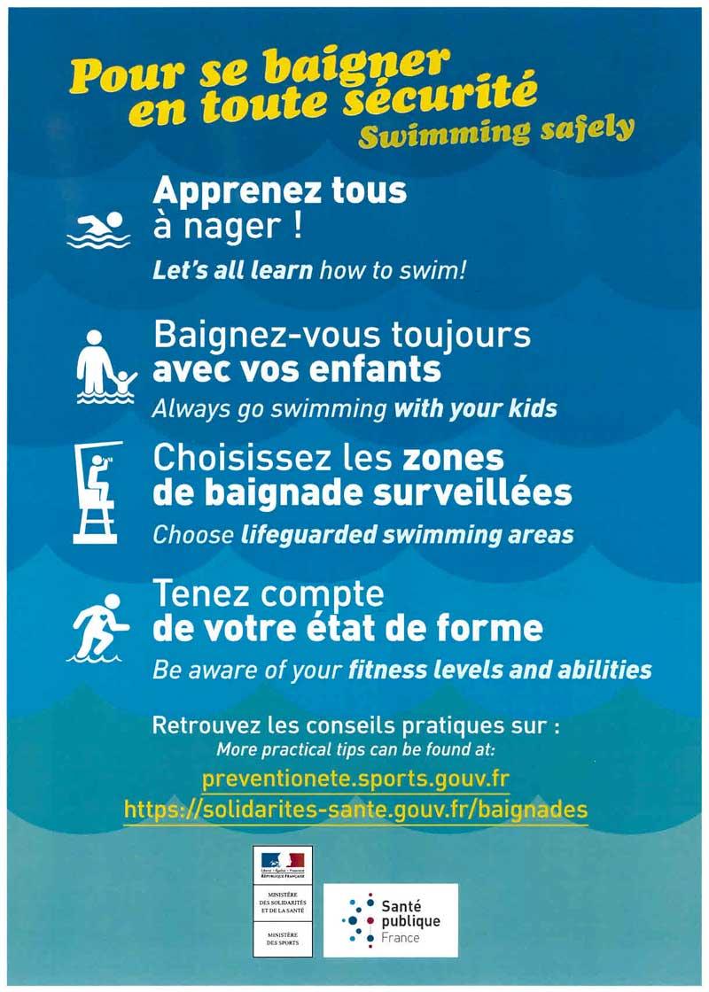 Bulletin informatif sur les règles de sécurité de la baignade
