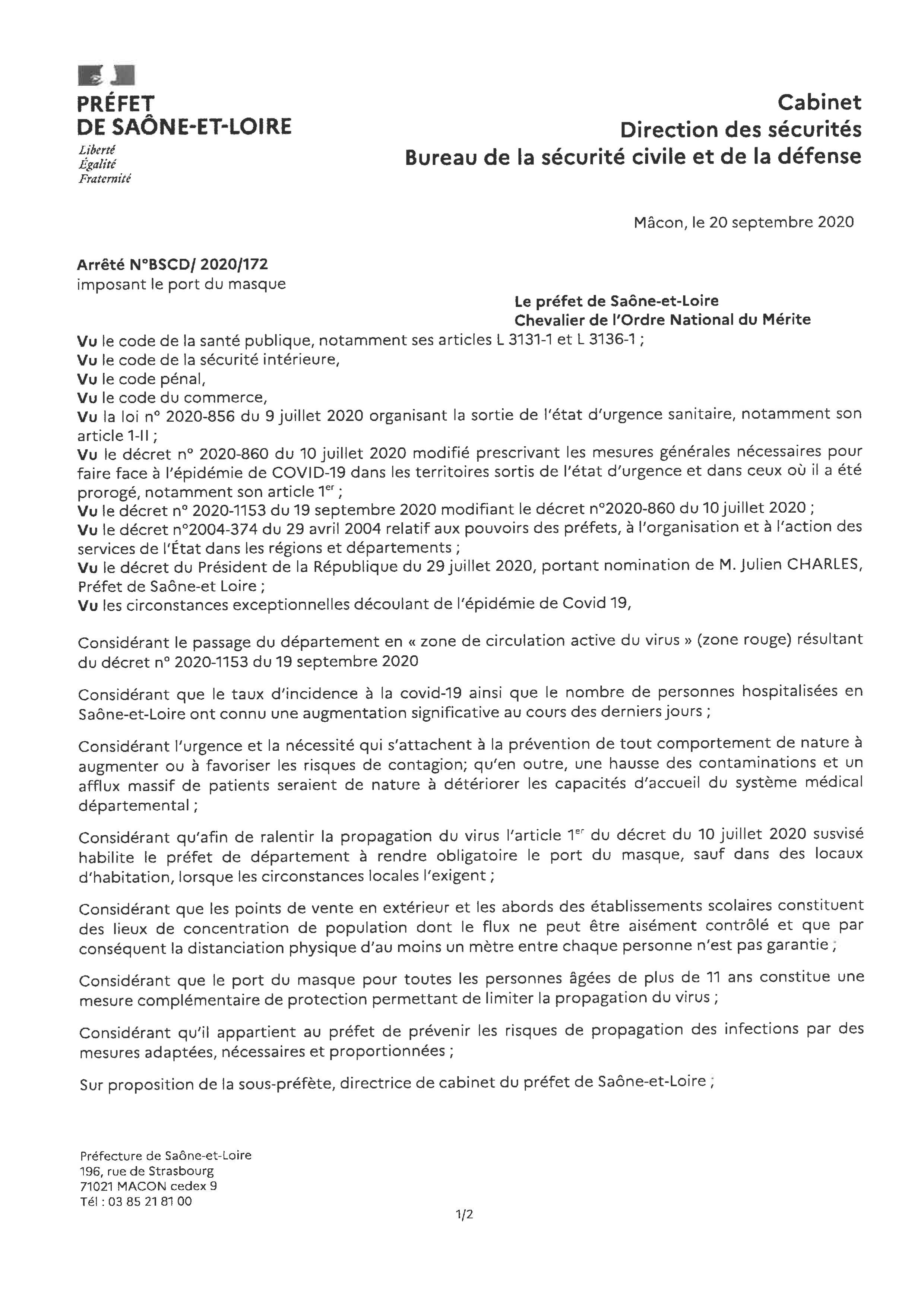 Arrêté préfectoral du 20 septembre 2020 portant sur le port du masque