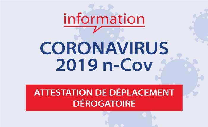 Covid-19 Attestation de déplacement dérogatoire