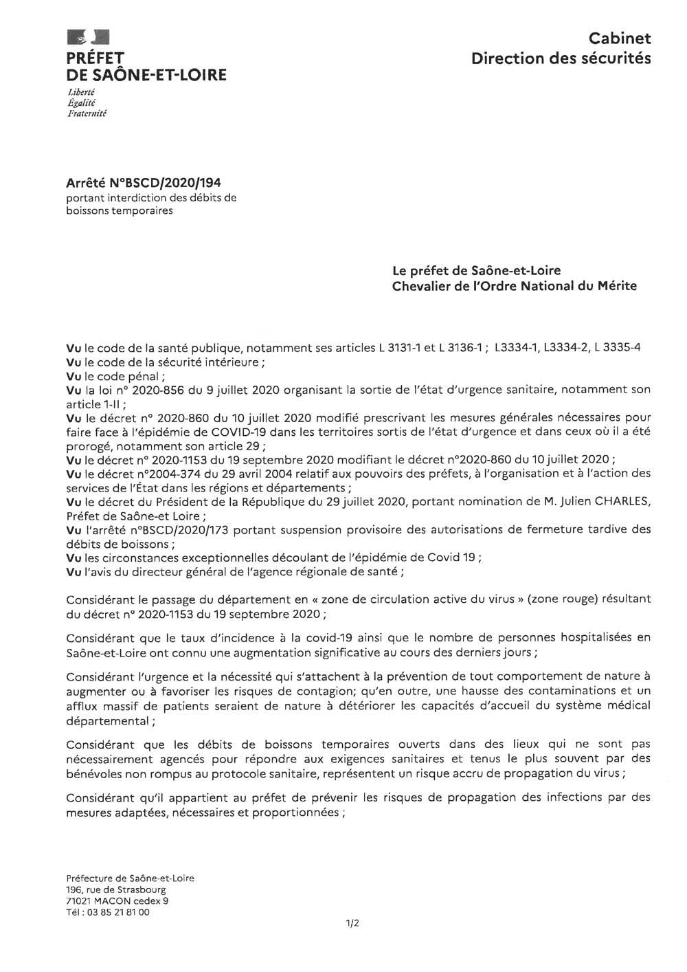 Arrêté préfectoral du 9 octobre 2020 portant sur l'interdiction des débits de boissons temporaires