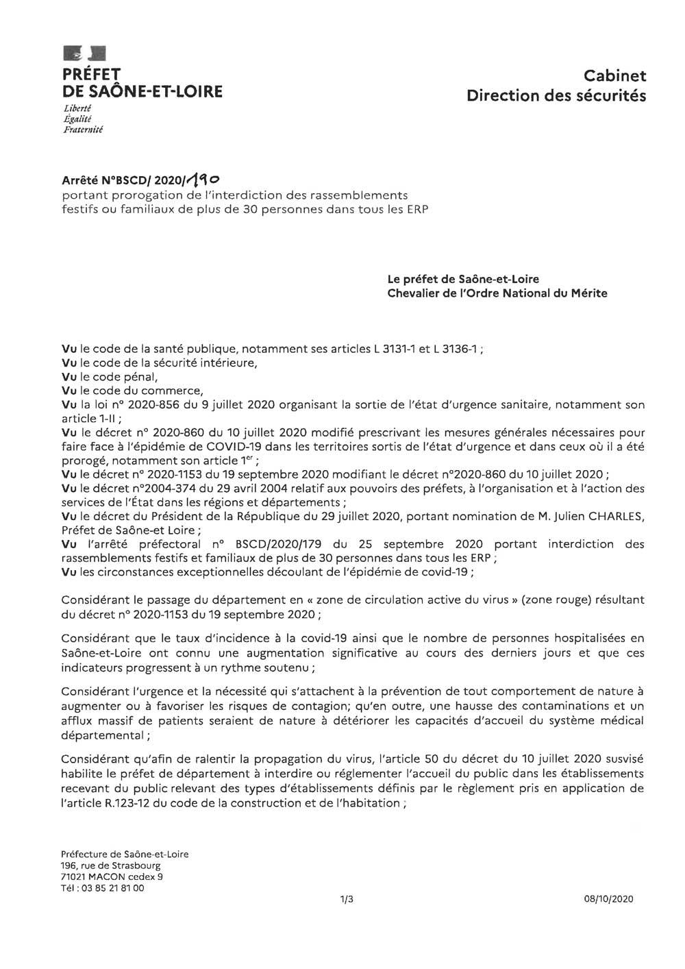 Arrêté préfectoral du 9 octobre 2020 portant prorogation de l'interdiction des rassemblements festifs ou familiaux de plus de 30 personnes dans tous les ERP