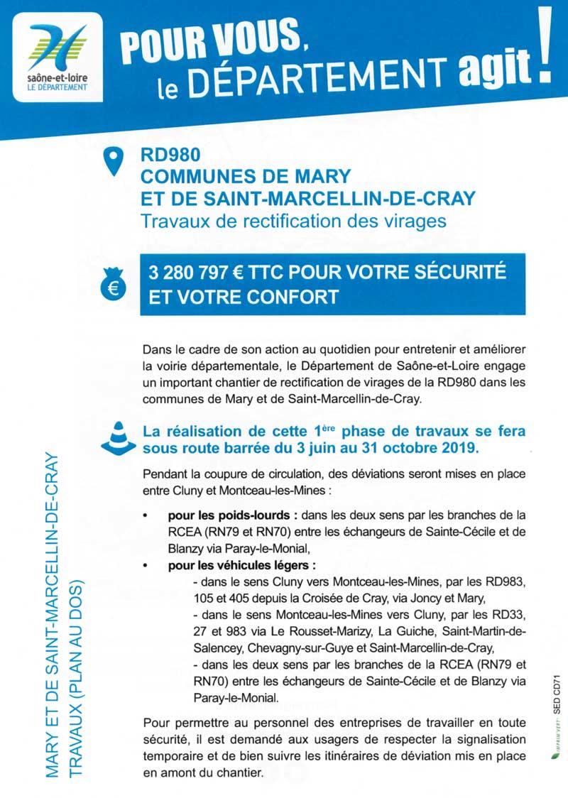 Note d'information numéro 1 sur le chantier de la RD980 du 3 juin au 31 octobre 2019