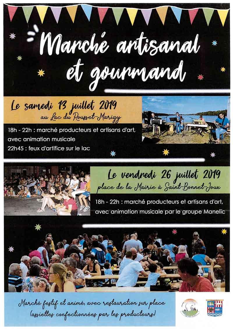 Affiche marché artisanal et gourmand du 13 juillet 2019 au Lac du Rousset
