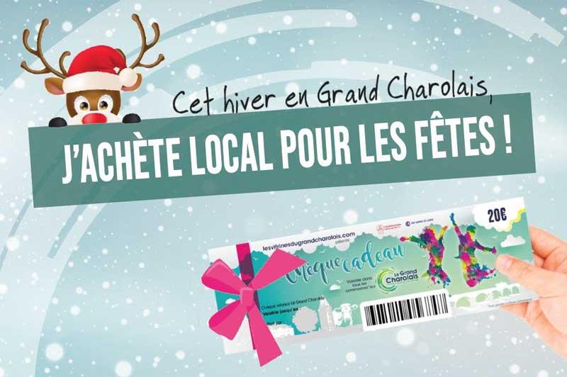 Bannière de l'opération des Chèques Cadeaux du Grand Charolais version hiver 2020