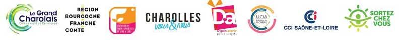 Logos des partenaires de l'opération des Chèques Cadeaux du Grand Charolais version hiver 2020