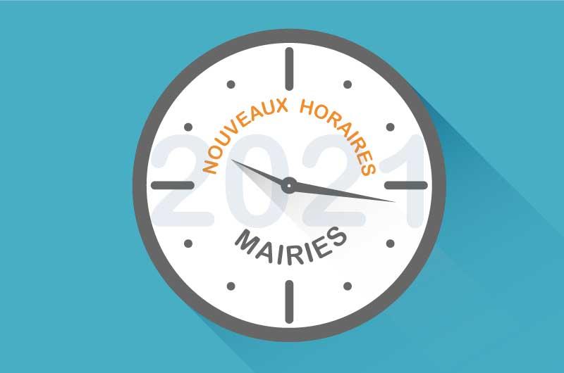 Illustration horloge, nouveaux horaires des mairies