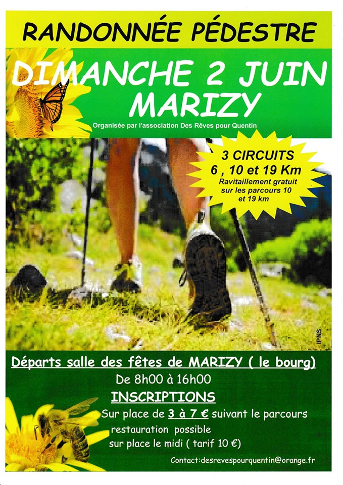 Affiche randonnée pédestre du dimanche 2 juin 2019 organisé par l'association Des rêves pour Quentin