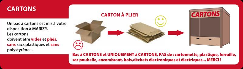 Les cartons : vides et pliés dans le bac à cartons